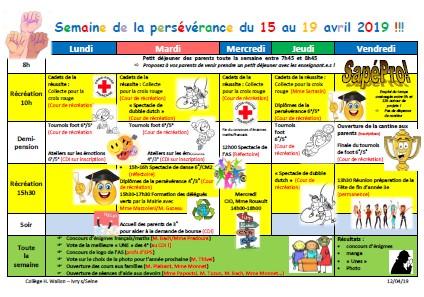 Planning de la SPS du collège Henri Wallon